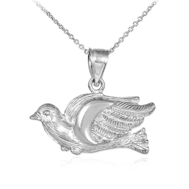Silver Flying Dove Pendant Necklace