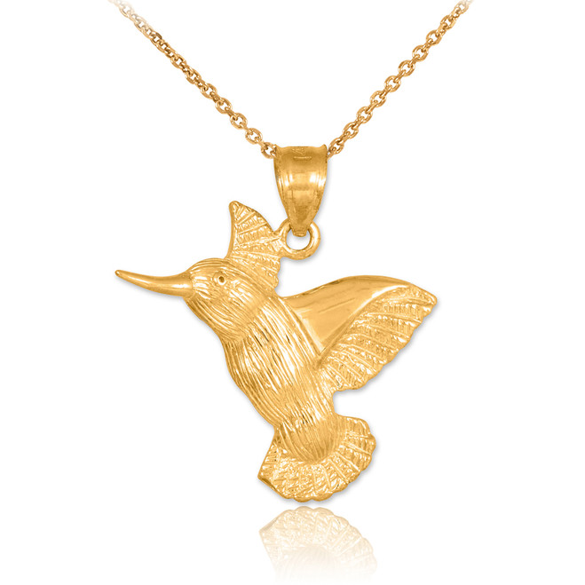 Gold Hummingbird Pendant Necklace