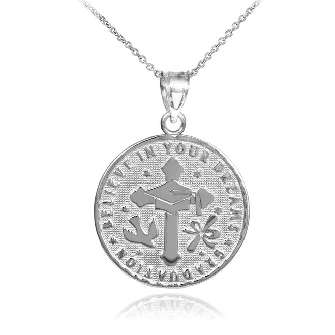 Silver Reversible Graduation Medallion Charm Pendant Necklace