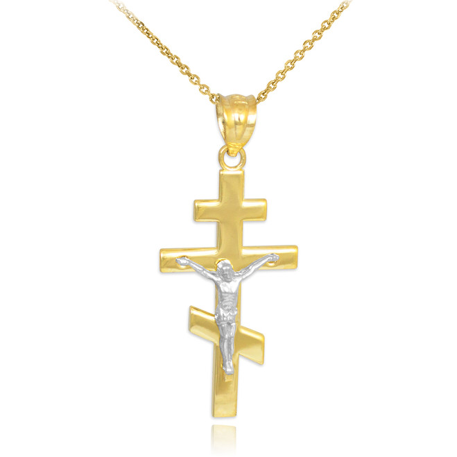 Two-Tone Gold Russian Orthodox Crucifix Pendant Necklace