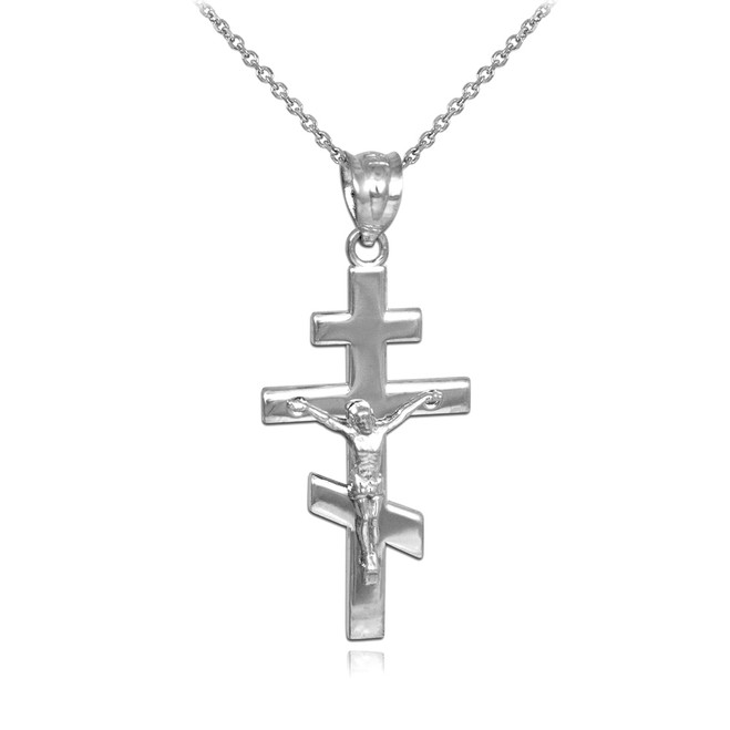 Silver Russian Orthodox Crucifix Pendant Necklace