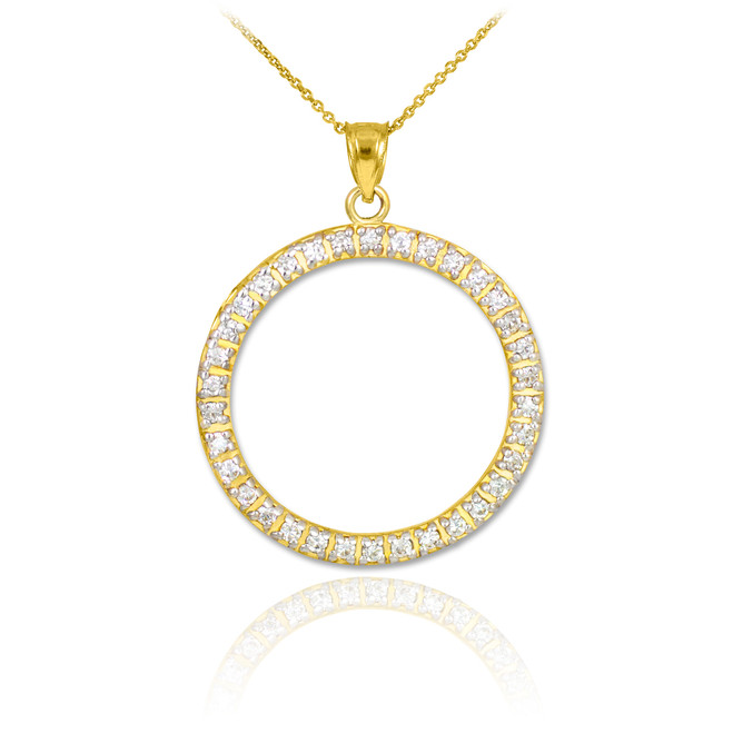 14K Gold Eternity Circle of Life Diamond Pendant Necklace