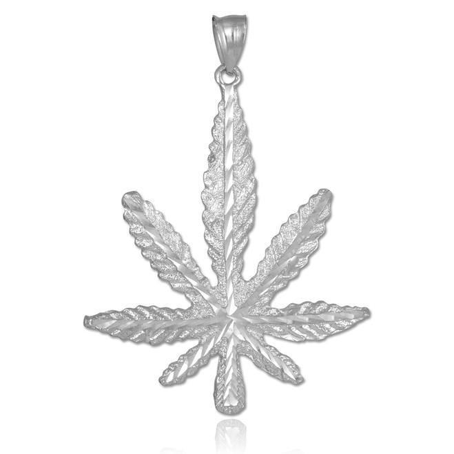 Silver Marijuana Leaf Cannabis Pendant