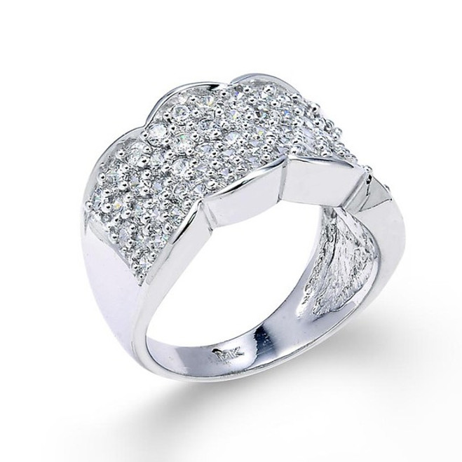 14 White Gold Micro Pave Floral Band Ring