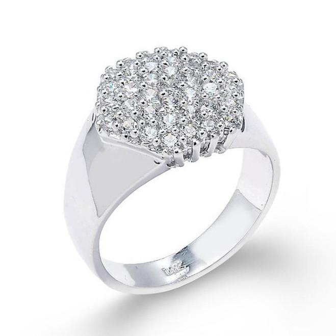 14k White Gold Diamond Cute Cluster Prong Ring