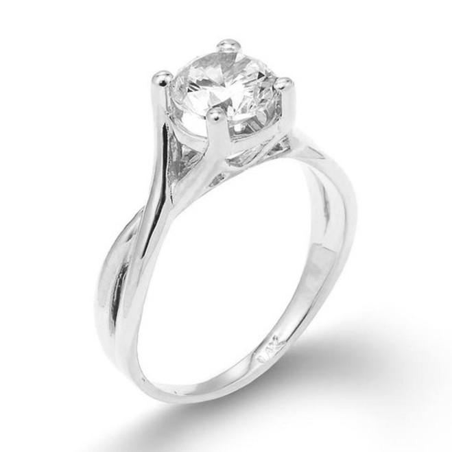 White Gold Infinity Band CZ Solitaire Engagement Ring