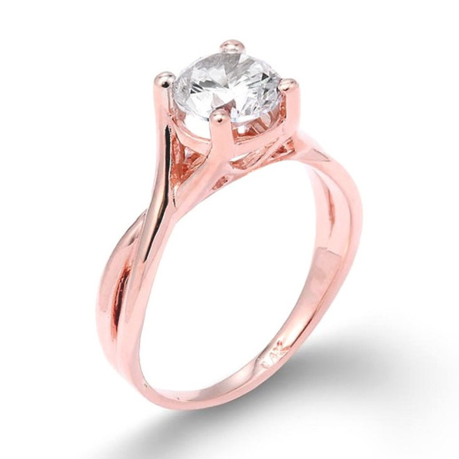 Rose Gold 2.50 ct CZ Solitaire Infinity Band Proposal Engagement Ring