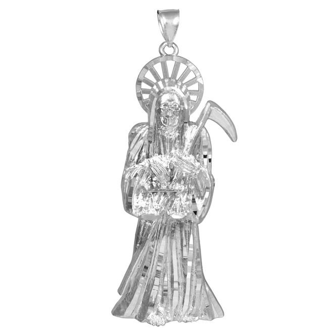 Silver Santa Muerte Grim Reaper Large Pendant