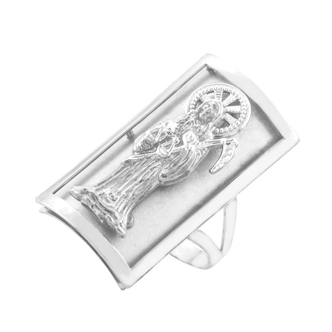 White Gold Santa Muerte Grim Reaper Fancy Ring 1.2 Inches