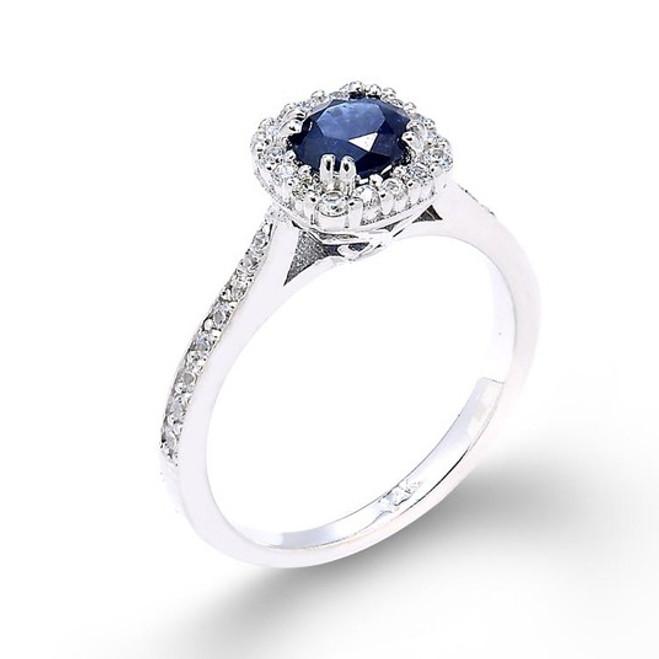 14k White Gold Sapphire Engagement Ring