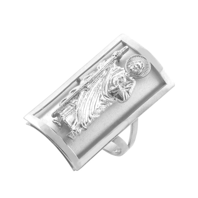 Silver Saint Jude Fancy Ring 0.9 Inch