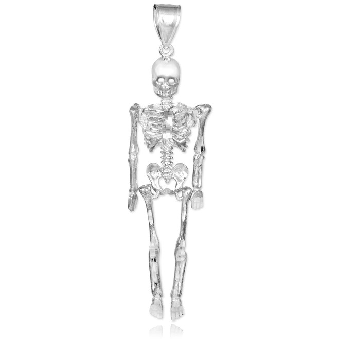 White Gold 3D Skeleton Dangle Pendant