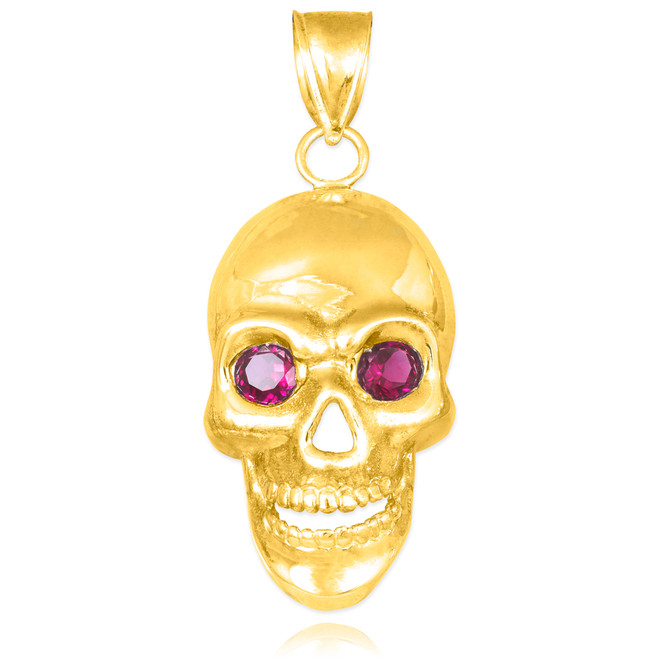 Gold Skull Pendant with Red CZ Eyes