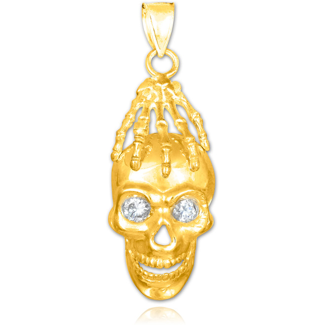 Gold Skull and Hand Clear CZ Eyes Pendant