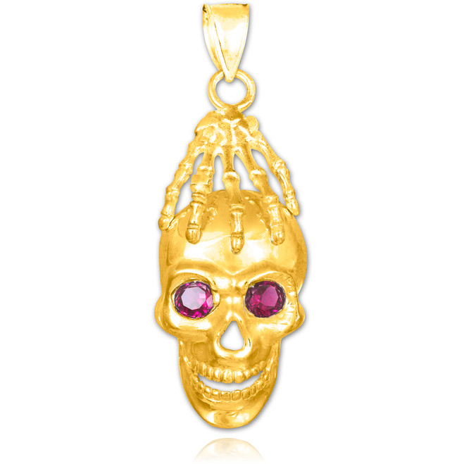 Gold Skull and Hand Red CZ Eyes Pendant