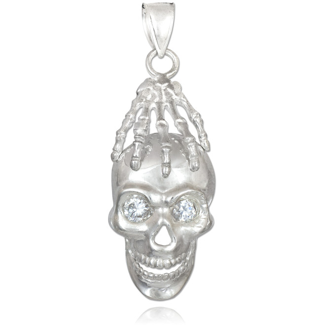 Silver Skull and Hand Clear CZ Eyes Pendant