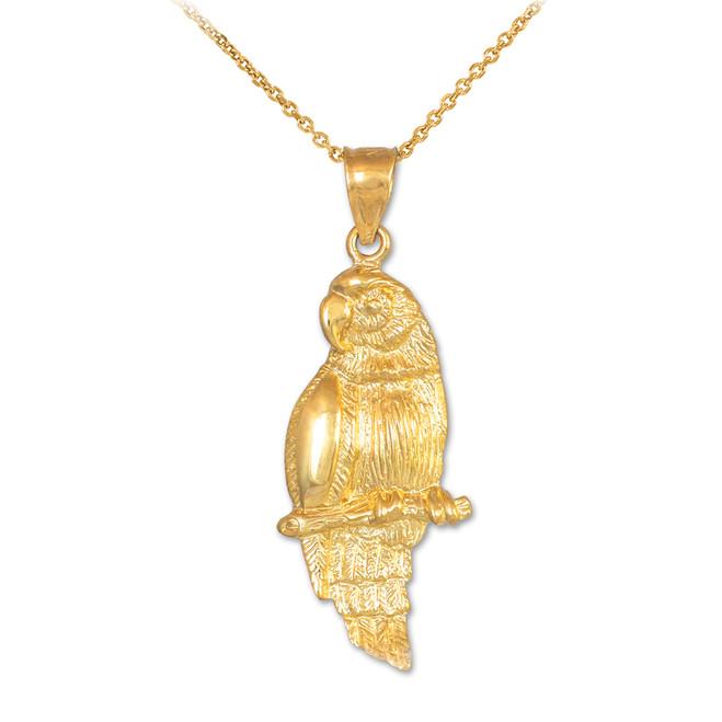 Gold Parrot Pendant Necklace