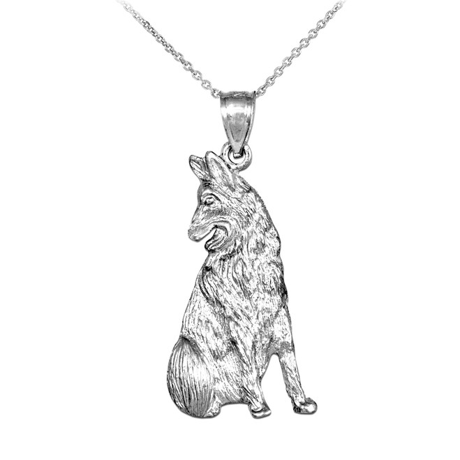 Sterling Silver German Shepherd Dog Pendant Necklace