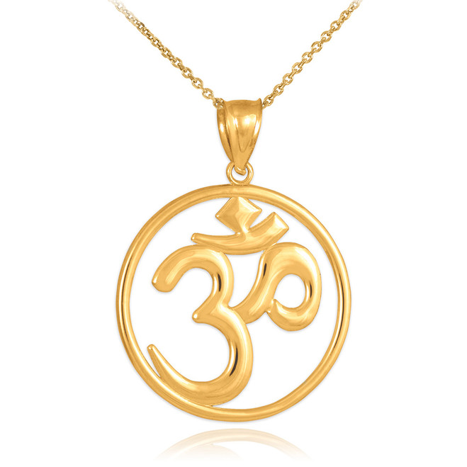 Gold Om (Ohm) Medallion Openwork Pendant Necklace