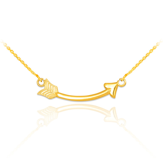 14k Gold Sideways Curved Arrow Necklace