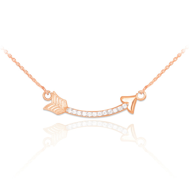 14k Rose Gold Diamond Studded Curved Arrow Necklace