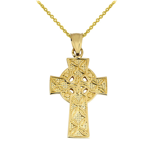 Gold Irish Celtic Cross Pendant