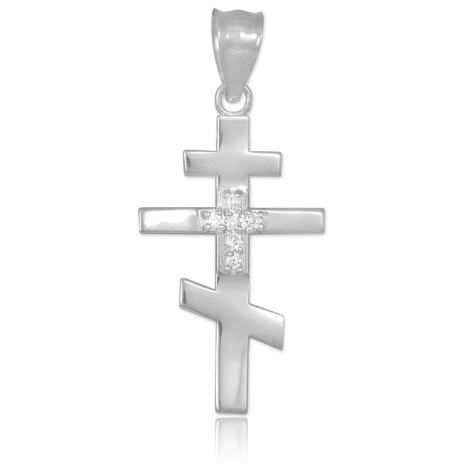 Diamond Studded White Gold Russian Orthodox Cross Pendant