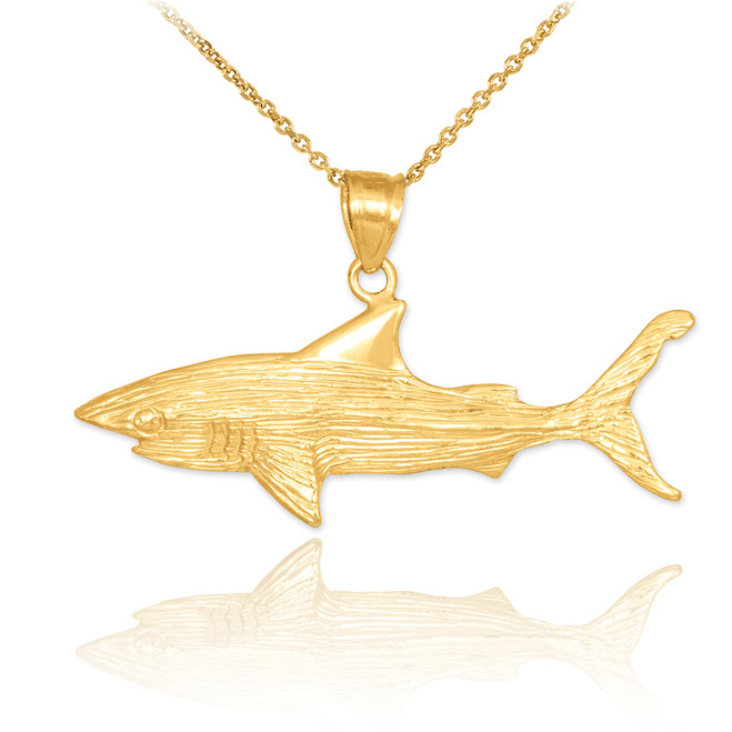 Gold Shark Textured Pendant Necklace