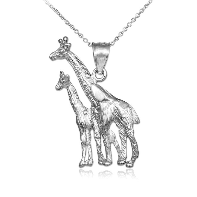White Gold Giraffe Pendant Necklace