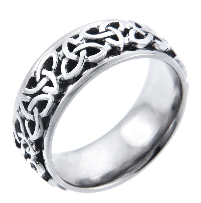 18k White Gold Celtic Knot Wedding Band