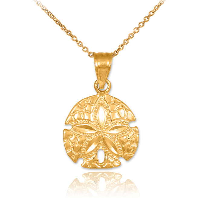 Polished Gold Sand Dollar Charm Pendant Necklace