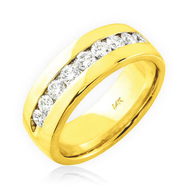 14K Gold Men's Diamond Wedding Band 8mm