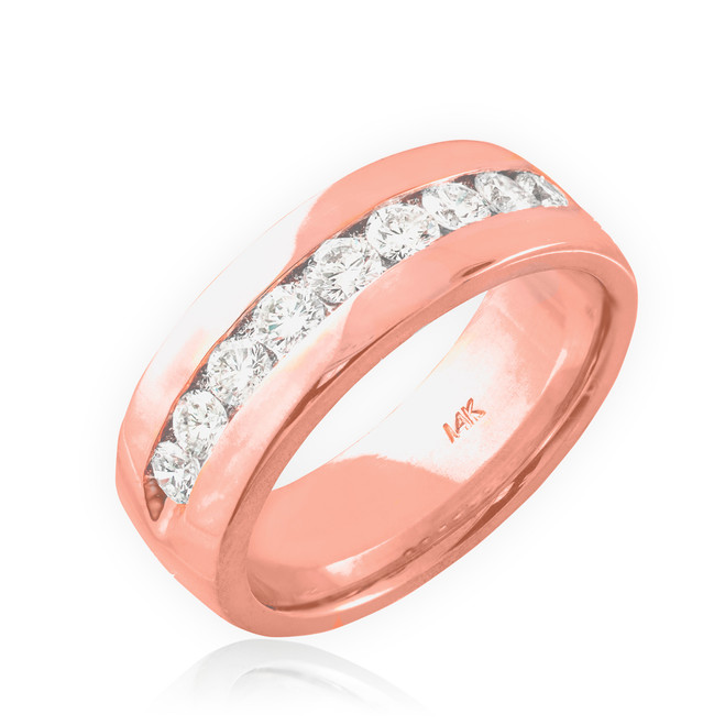 14K Rose Gold Women's Diamond Wedding Band 6mm