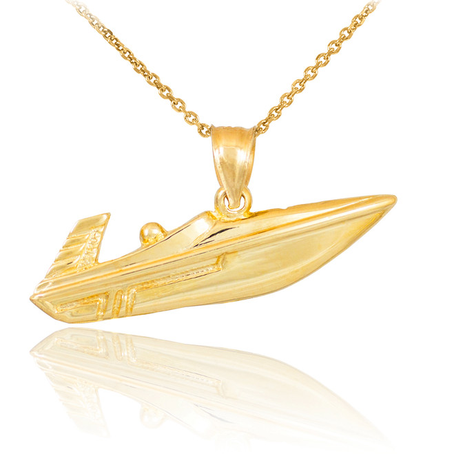 Polished Gold Speed Boat Pendant Necklace