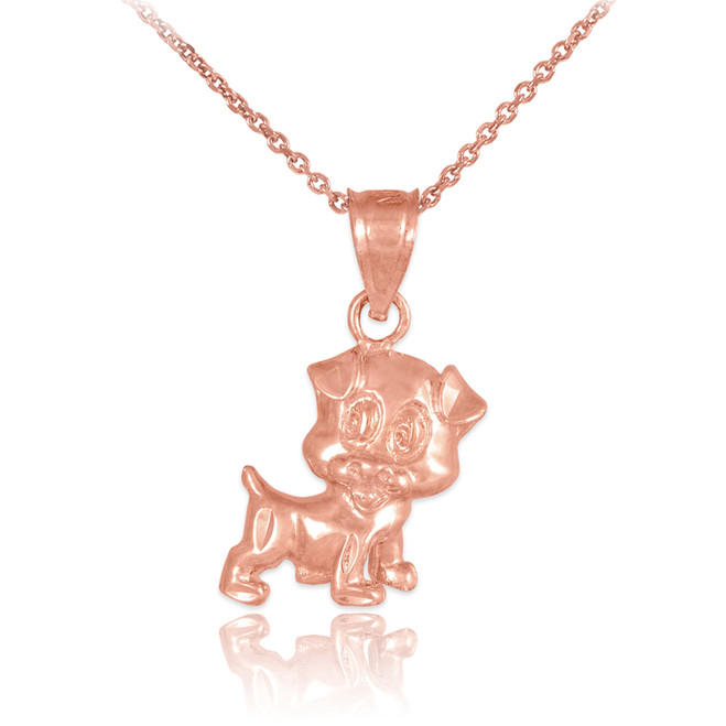 Rose Gold Cute Puppy Charm Necklace