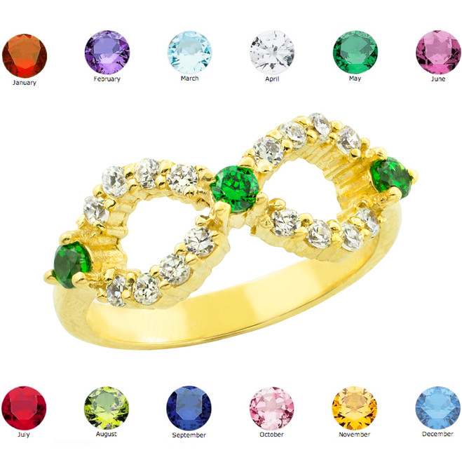 Gold Infinity Birthstone CZ Ring