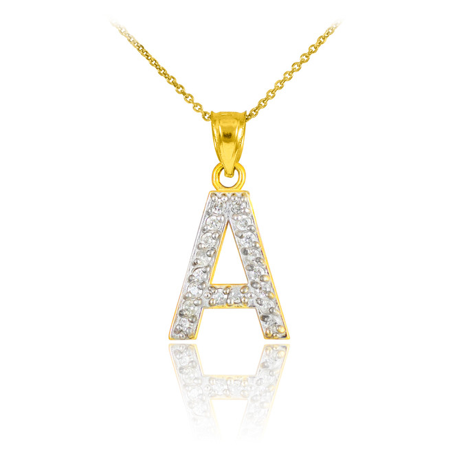 "Gold Letter ""A"" Initial Diamond Monogram Pendant Necklace"