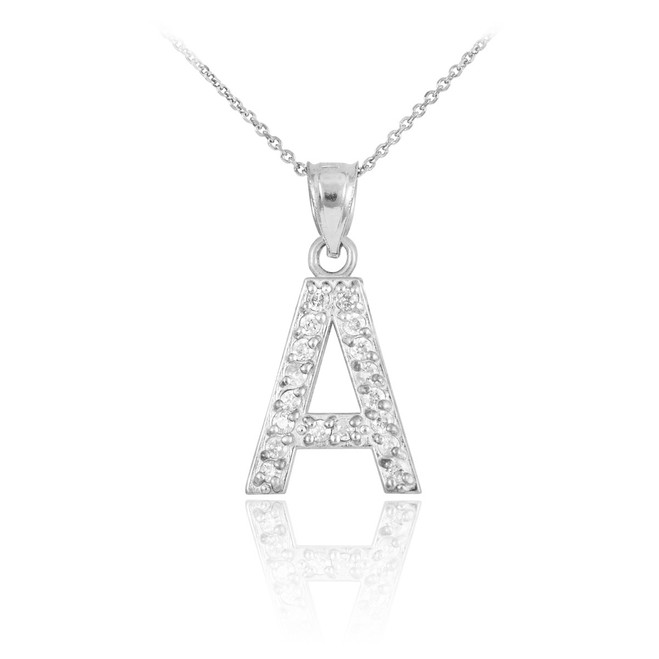 "White Gold Letter ""A"" Initial Diamond Monogram Pendant Necklace"