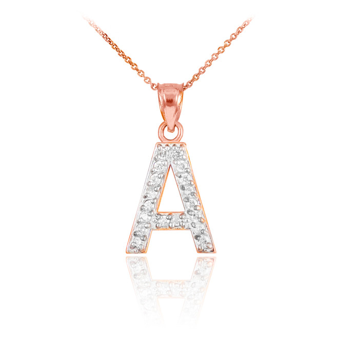 "Rose Gold Letter ""A"" Initial Diamond Monogram Pendant Necklace"