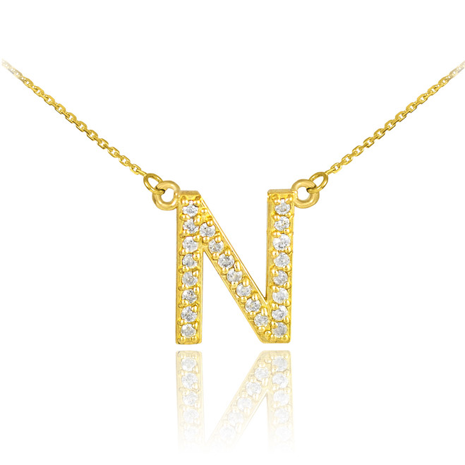 "14k Gold Letter ""N"" Diamond Initial Monogram Necklace"