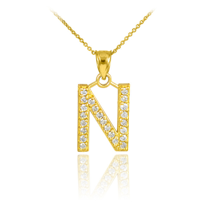 "Gold Letter ""N"" Initial Diamond Monogram Pendant Necklace"
