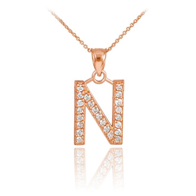 "Rose Gold Letter ""N"" Initial Diamond Monogram Pendant Necklace"