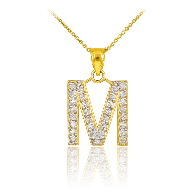 "Gold Letter ""M"" Initial Diamond Monogram Pendant Necklace"