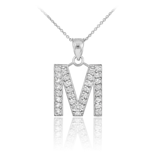 Pendants necklaces initials collection m page 1 factory white gold letter m initial diamond monogram pendant necklace aloadofball Image collections