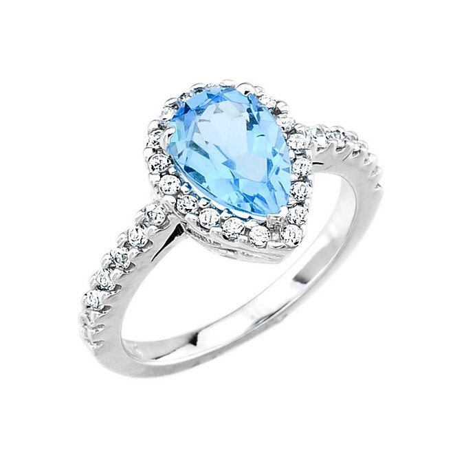 White Gold Blue Topaz and Diamond Engagement Ring