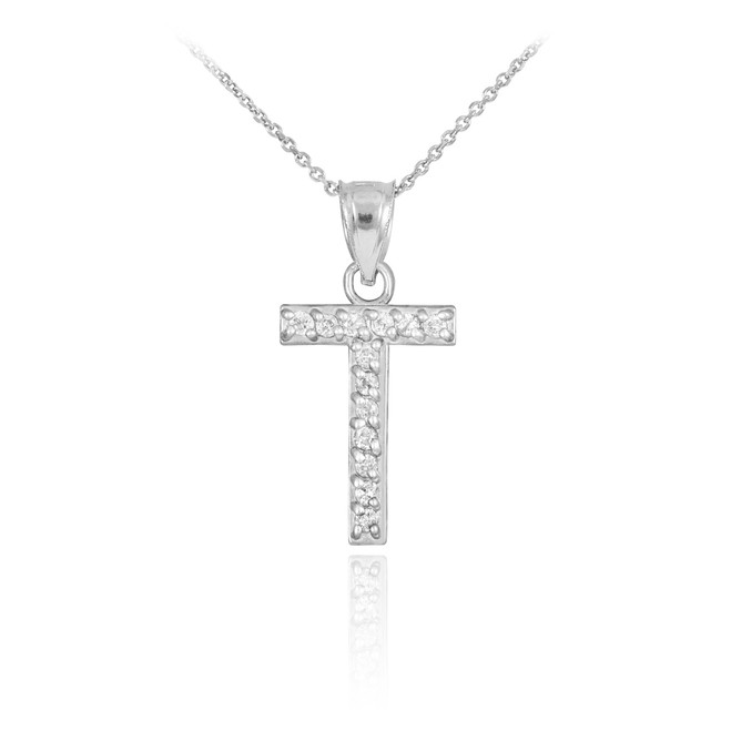 "White Gold Letter ""T"" Diamond Initial Pendant Necklace"