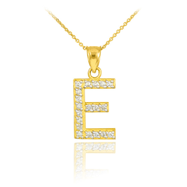 "Gold Letter ""E"" Diamond Initial Pendant Necklace"
