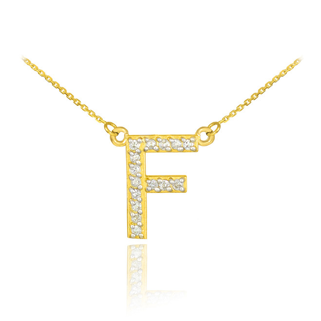 """14k Gold Letter """"F"""" Diamond Initial Necklace"""