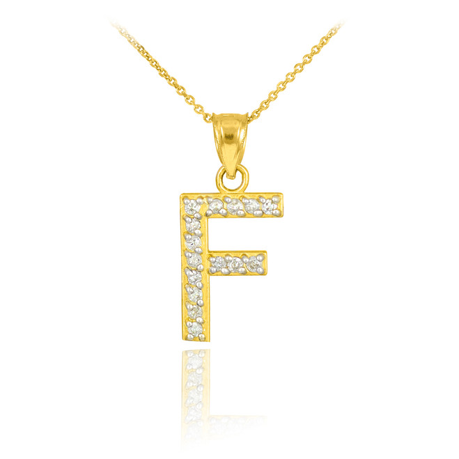 """Gold Letter """"F"""" Diamond Initial Pendant Necklace"""