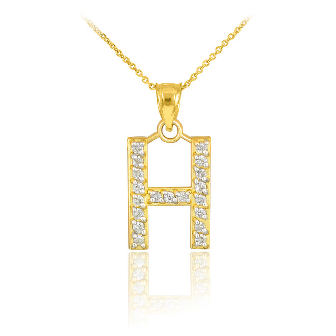 "Gold Letter ""H"" Diamond Initial Pendant Necklace"